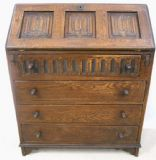 SOLD - Oak Linenfold Fronted Writing Bureau Desk